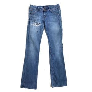 Hudson jeans 28 light washed distressed flare leg